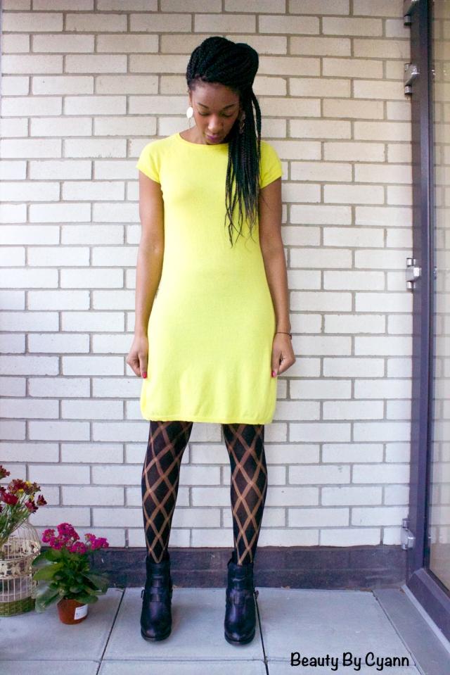 Bottines noires à découpes Bronx avec robe en laine jaune Benetton